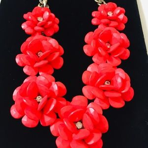 J. CREW RED ROSES NECKLACE WITH  CRYSTAL CENTER
